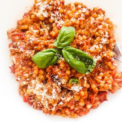 Healthy One-Pan Couscous With Garlic, Tomato and Basil