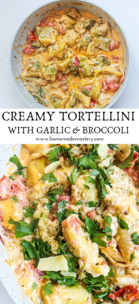 Easy creamy pasta recipe! This tasty tortellini recipe is made with a creamy sauce and has some healthy components to it thanks to the addition of broccoli, tomato, garlic and freshly chopped herbs! A delicious and easy pasta recipe, perfect for dinner!