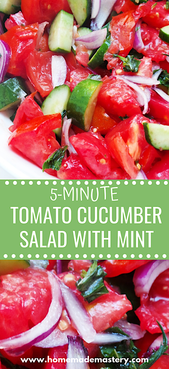 Super easy tomato cucumber salad recipe with mint! Making this healthy side dish only takes 5 minutes and 5 ingredients and will perfectly complete your dinner table!