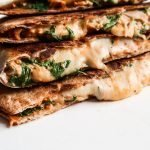 Easy cheesy chicken quesadilla that is spicy, creamy and ready in about 15 minutes! This chicken recipe is perfect for dinner and when you have some chicken leftovers to use!