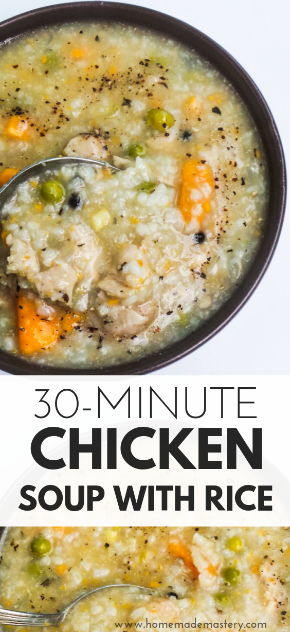 Homemade chicken soup with rice! This delicious chicken soup is ready in about 30 minutes - perfect for a quick weeknight dinner on a cold day! gluten-free and dairy-free