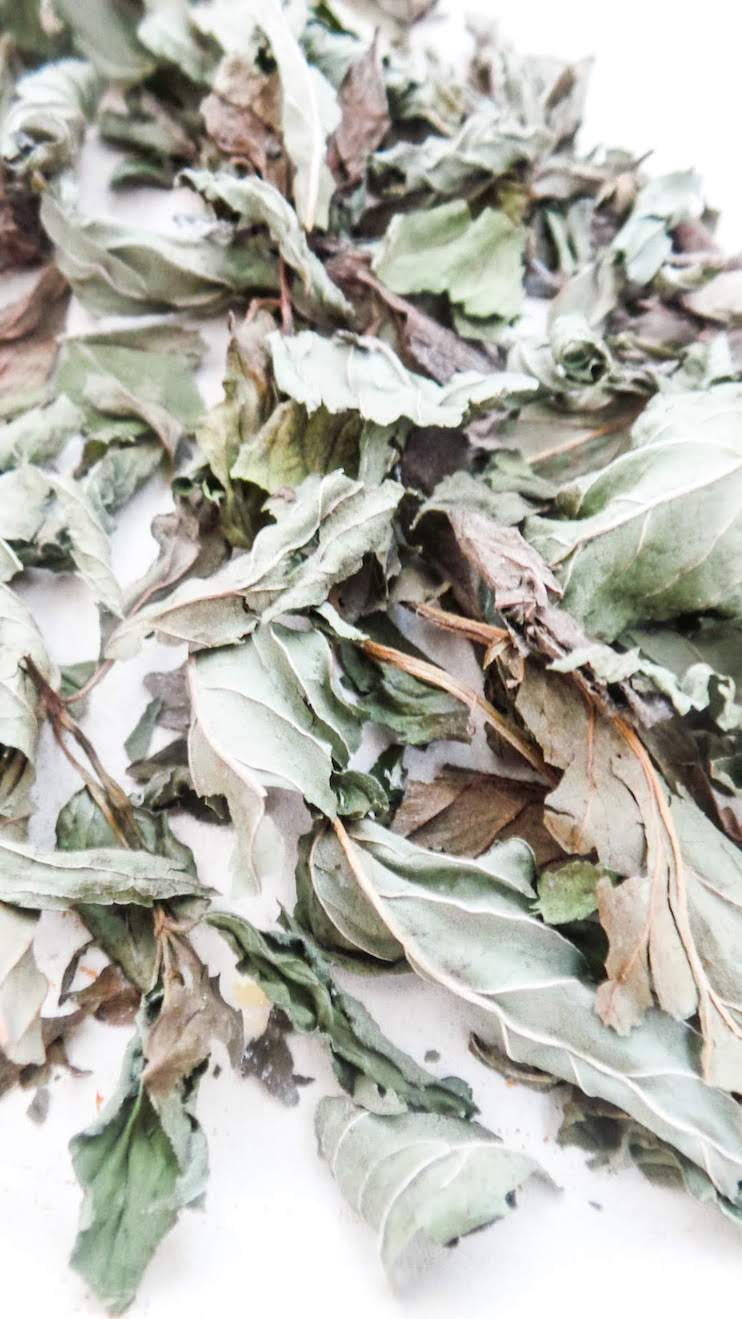 Learn how to dry mint leaves for tea and cooking! I share two methods that have worked for me - air drying mint on a herb drying rack and drying mint leaves in the oven. We also talk about the benefits of drying mint on your own as well as the health benefits of mint!