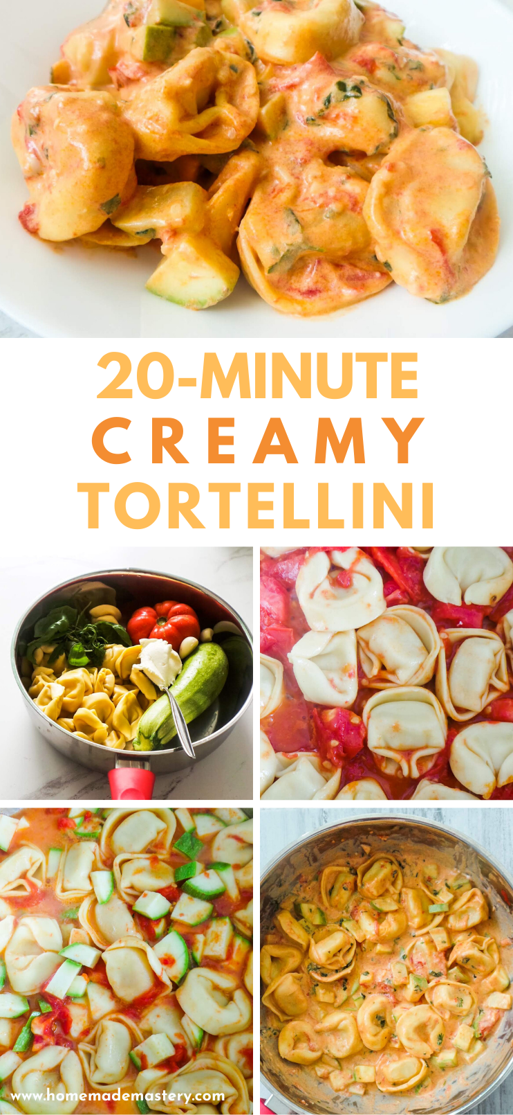 Easy vegetarian tortellini recipe! This creamy pasta recipe comes is kinda healthy, because it's full of fresh vegetables - zuchini, garlic, tomato, basil, greens and it's absolutely delicious. The creamy tortellini sauce is made with cream cheese for convenience! This easy pasta recipe will take around 20 minutes to make and is perfect for a weeknight dinner for two or if you're very hungry - one!