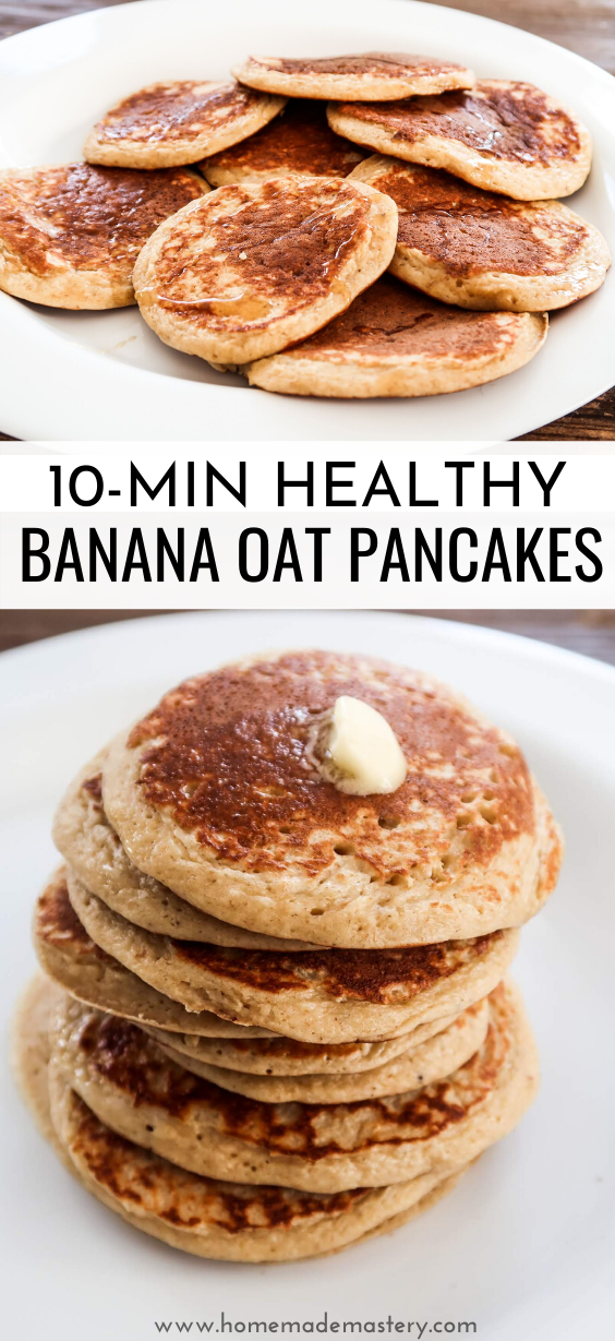 10-minute oatmeal banana pancakes - an easy healthy breakfast recipe that you can make with only 5 ingredients! These healthy banana oatmeal pancakes are also delicious as a dessert.