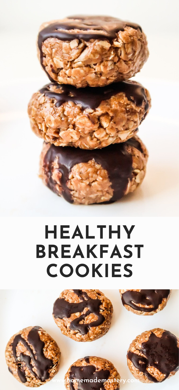 Easy healthy breakfast cookies! These homemade no-bake peanut butter cookies are the perfect breakfast on the go! They're a super easy meal prep breakfast idea that is ready in 10 minutes!