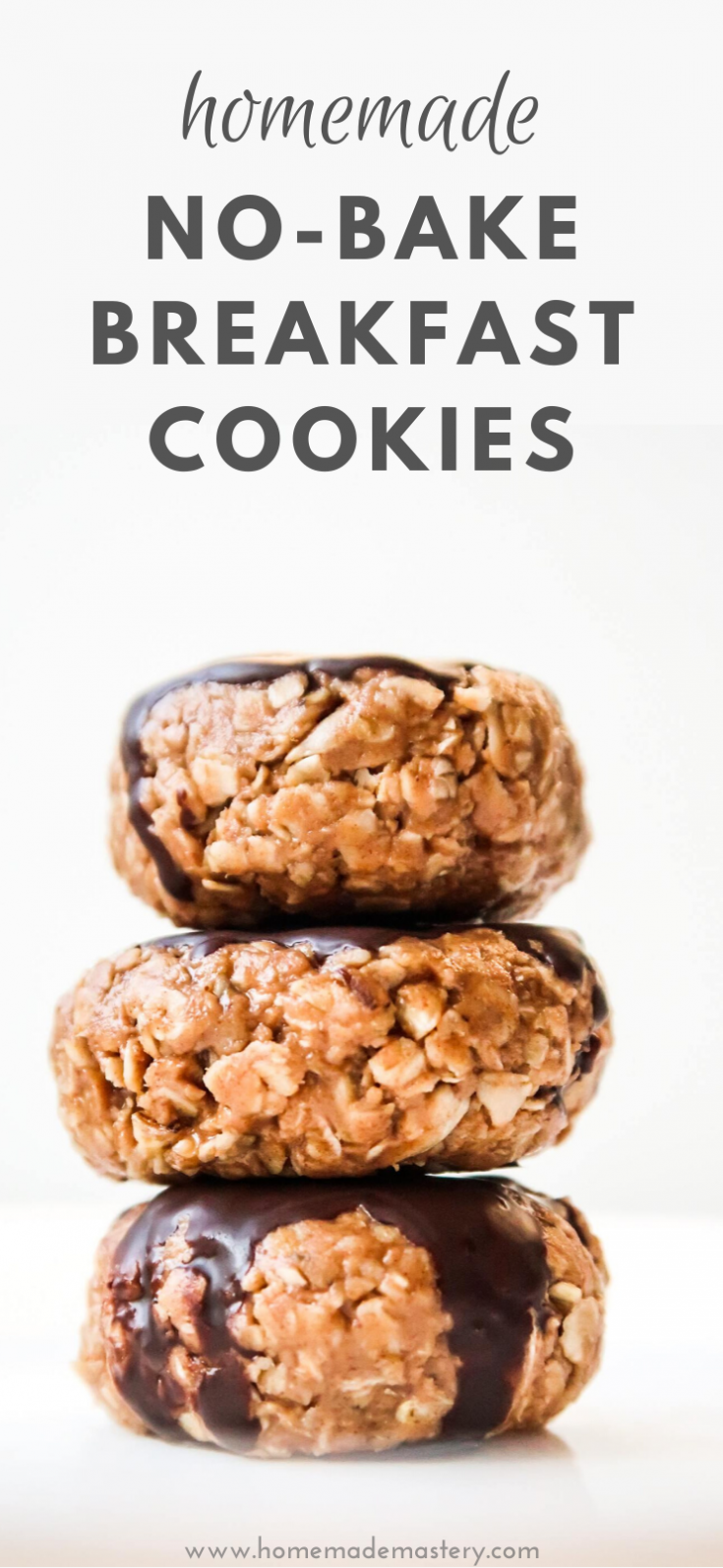 Easy homemade healthy breakfast cookies! These no-bake breakfast cookies are made in 10 minutes and can be made ahead for the whole week - great meal prep recipe for breakfast on the go.