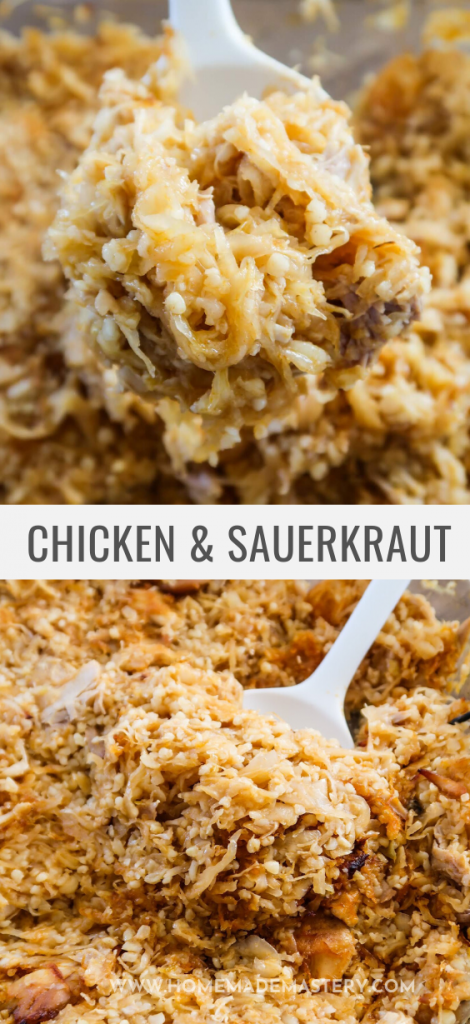 Chicken with sauerkraut and bulgur! This easy chicken recipe is perfect for meal prep as it makes a lot and is great for dinner...It does require you to like sauerkraut though - otherwise you might want to skip on this delicious sauerkraut recipe...If you do like sauerkraut - you'll love this recipe!
