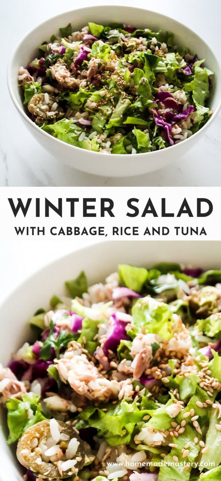 Healthy winter salad with rice, cabbage and tuna! This delicious easy cabbage salad is a great way to get your vitamins and to stay healthy during winter! This is also a great healthy cold lunch to bring to work, if you don't have microwave. This chopped salad is gluten-free and high in protein.