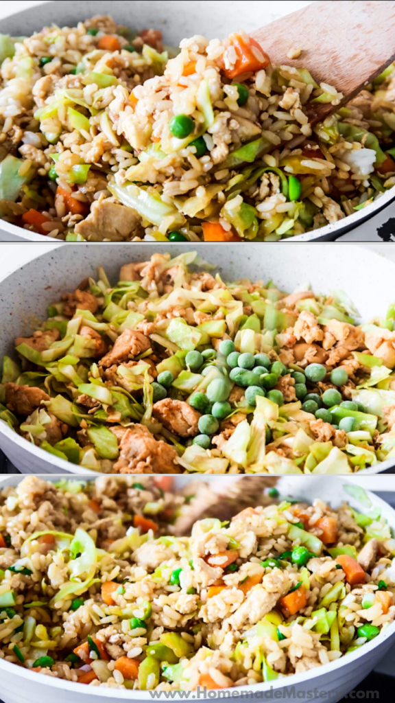 Healthy chicken fried rice! This easy fried rice recipe is delicious and pretty quick to make for a dinner for the family whether there's two of you or more. You'll need some old rice, vegetables, eggs and boneless skinless chicken to make it. | Healthy fried rice by Homemade Mastery