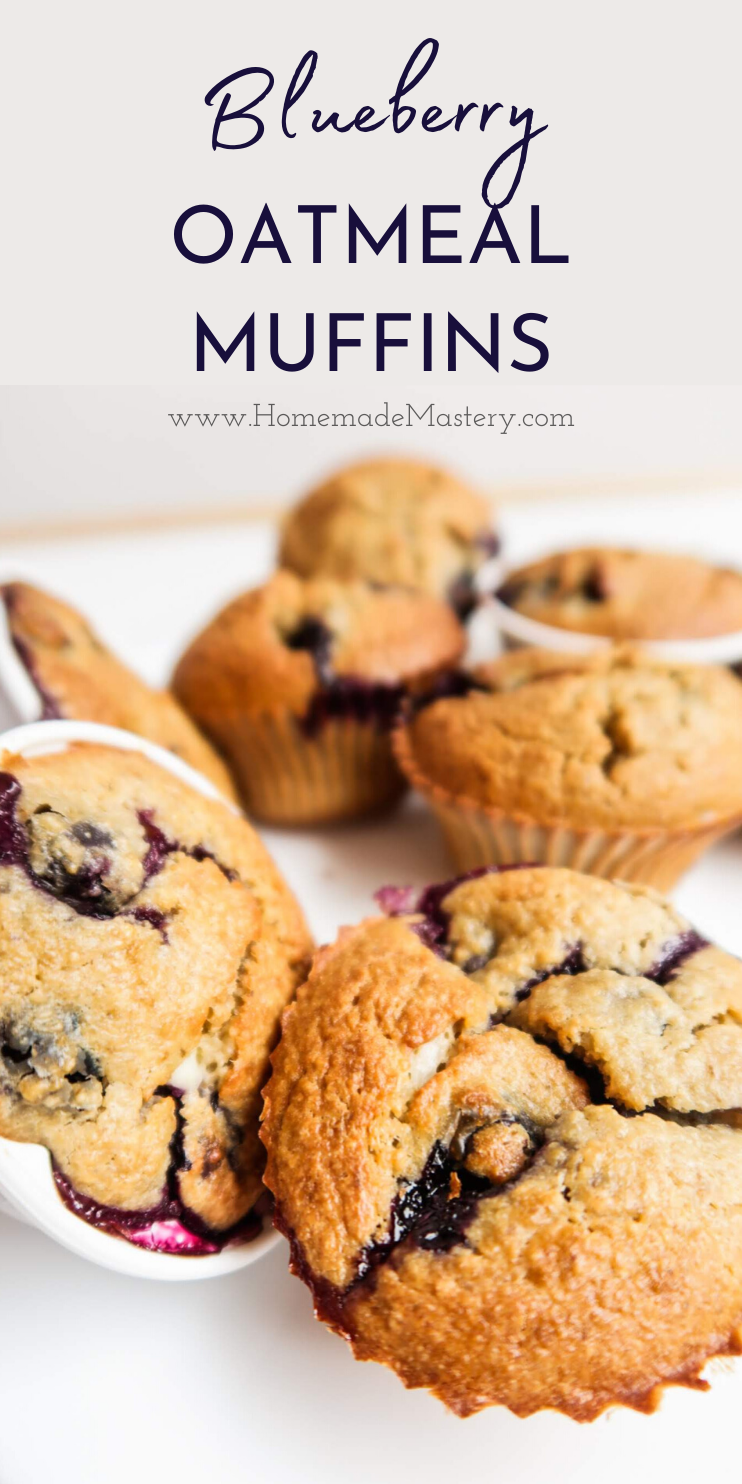 Healthy blueberry oatmeal muffin recipe! These healthy breakfast muffins are super easy to make and great for a meal prep breakfast and on the go!
