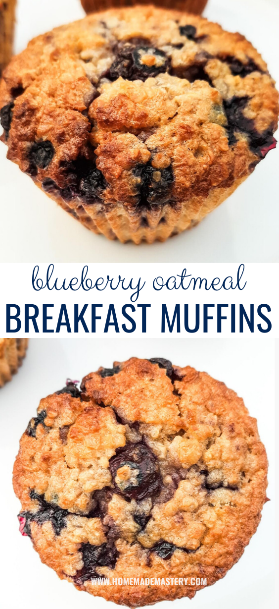 Healthy blueberry breakfast muffin recipe! This is an easy blueberry oatmeal muffin recipe and it results in delicious and healthy oatmeal blueberry muffins that smell and taste amazing! These are made with very few ingredients, are a great meal prep recipe and a ready to eat on the go breakfast. #breakfast #muffin #recipe