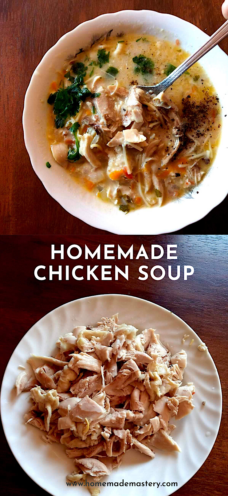 Delicious homemade chicken soup with noodles! This healthy chicken soup is easy and filling and great for a warming lunch or dinner! #chicken #soup