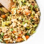 Easy chicken fried rice - easy dinner recipe that you'll want to eat the entire week and you can! This meal is also great meal prep recipe (makes 3-4 servings and keeps well in the fridge!).