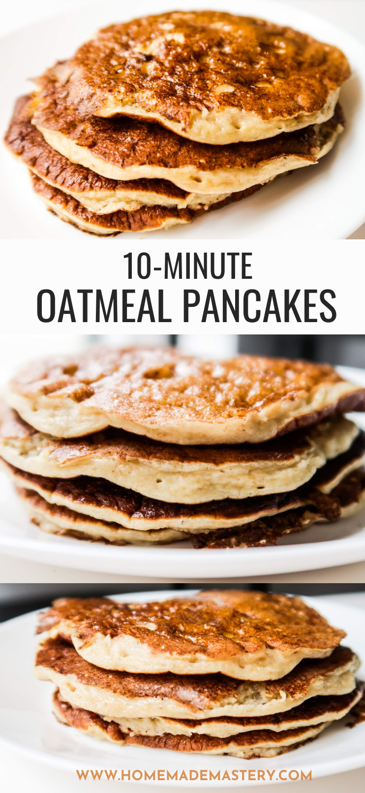Healthy and easy oatmeal pancake recipe without banana! These easy healthy pancakes are made with no flour and no sugar and are great for a delicious quick and easy breakfast! Fluffy and very versatile - top with your favourite toppings!