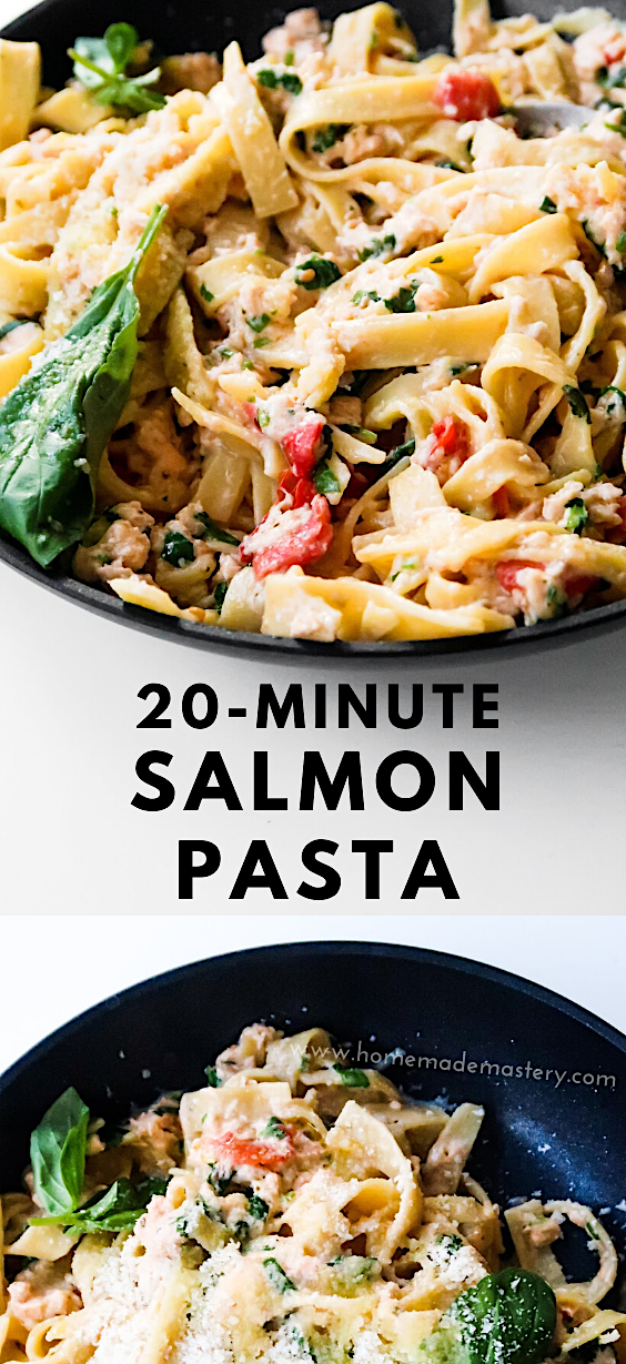 20-Minute salmon pasta recipe. This easy salmon recipe is a great dinner recipe that is made with pasta, salmon, garlic, pesto and cream cheese. It's a super easy pasta recipe that is creamy and delicious! #salmon #pasta #recipe #dinner #easy