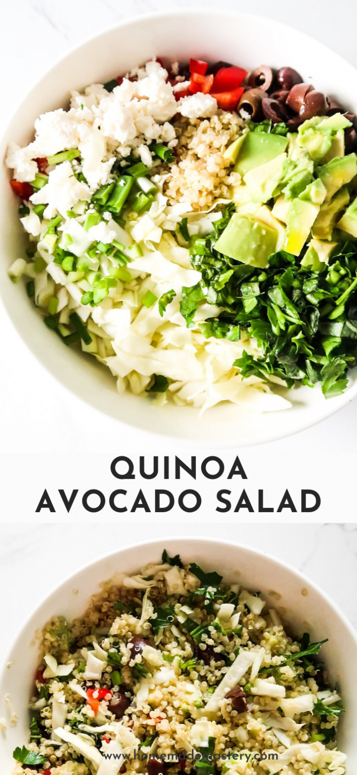 Avocado quinoa salad! An easy healthy salad recipe to serve as a side dish or as a delicious lunch salad! This delicious quinoa recipe is rich in fibre, vitamins and minerals  - it tastes amazing and and will make you feel great too!