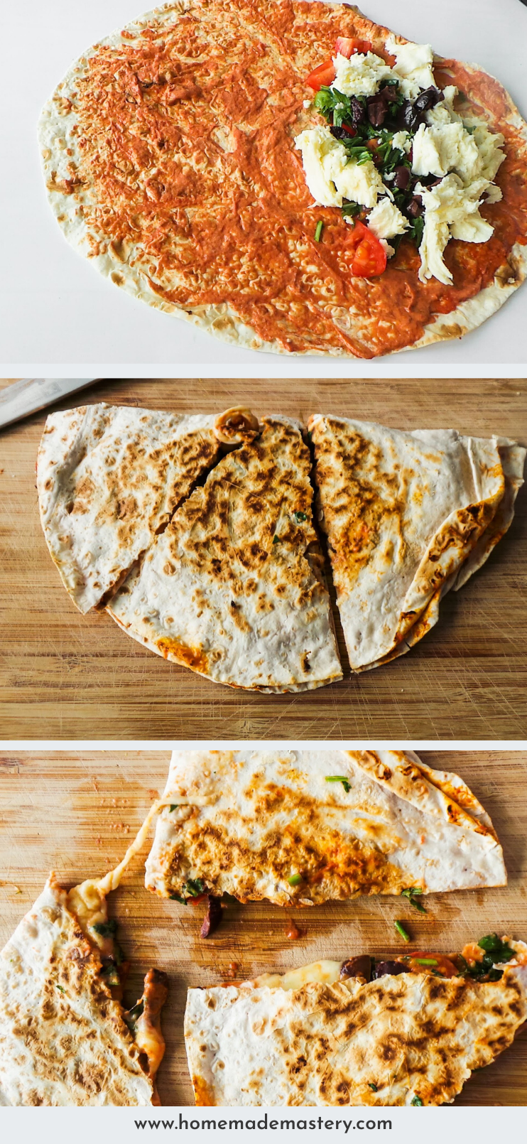 10-minute easy vegetarian quesadilla! This cheesy quesadilla is healthy, super simple, made with easy to find ingredients and tastes a lot like pizza!