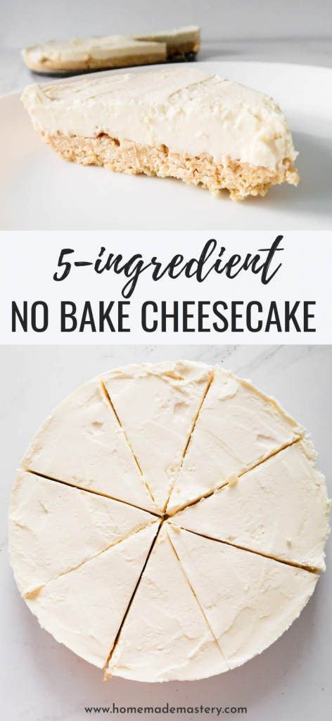 This easy no bake cheesecake has a creamy filling and a buttery crumbly crust and is kinda addictive. You won't believe it, but this simple no bake cheesecake recipe requires only 5 ingredients! Not bad for an entire cake. #cheesecake #dessert