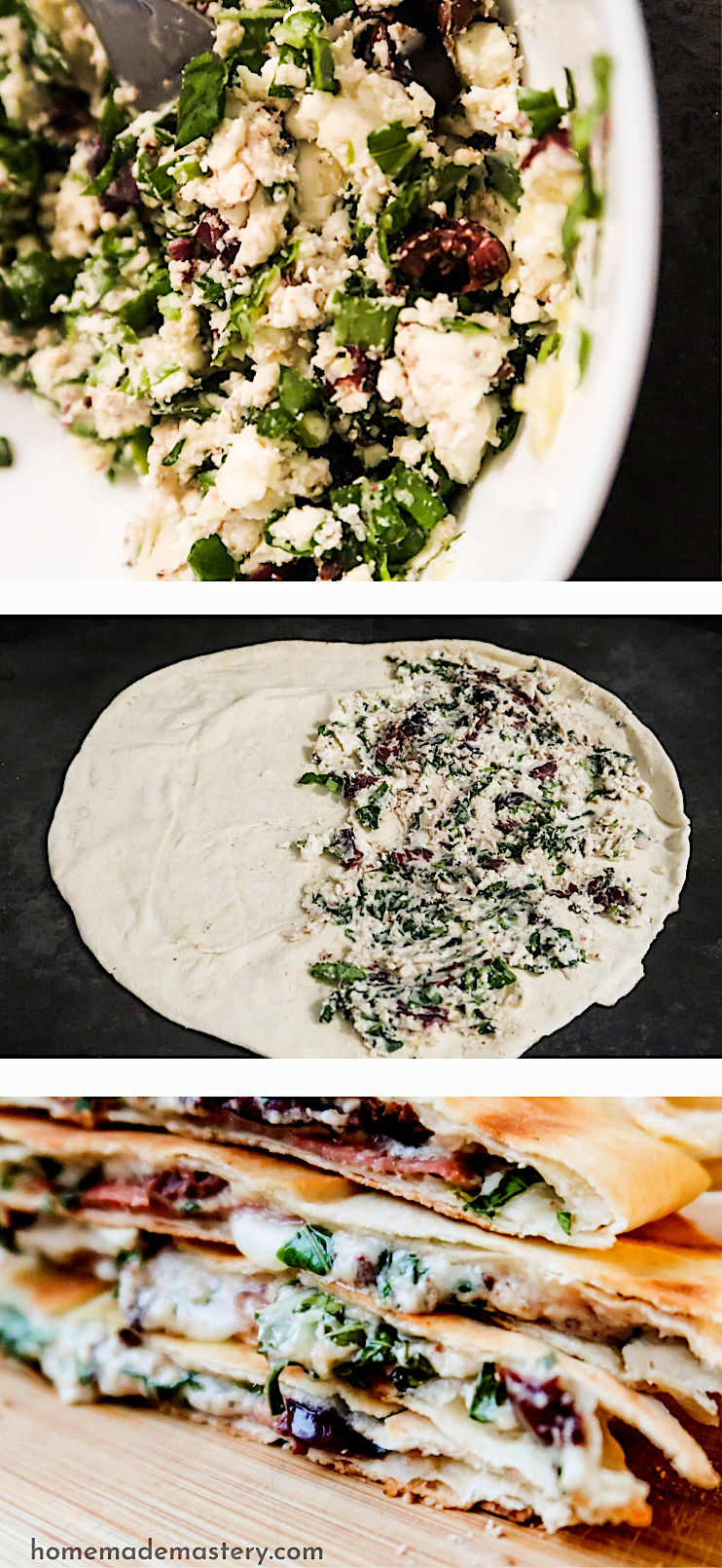 Easy Mediterranean feta cheese quesadilla recipe with garlic and herbs! The pictures do not look great, but this is an easy and very delicious lunch or dinner recipe that tastes really good!