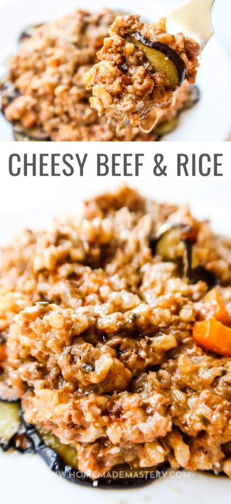 This cheesy beef and rice with pesto is an easy ground beef recipe that you can have on your dinner table in around 30 minutes! Super delicious, when served with some eggplant, but you can lighten it up by serving with some salad! Delicious and easy dinner recipe!