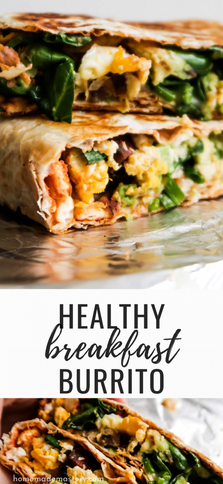 This healthy breakfast burrito recipe is easy and delicious! Filled with eggs, cheese, avocado and vegetables this easy breakfast burrito recipe is a healthy savory breakfast that will keep you full for many hours.