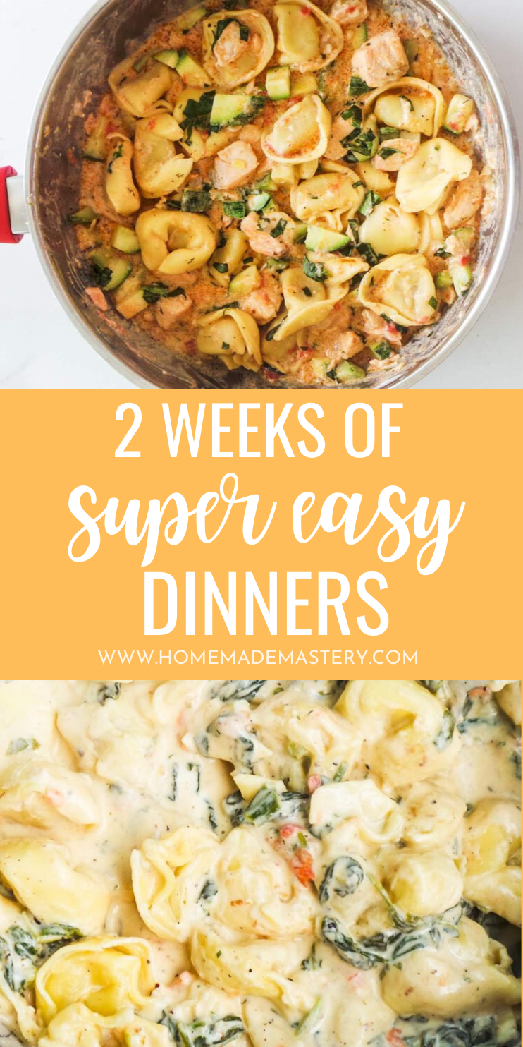 Super easy dinner recipes - 2 weeks of super easy dinners to choose from! Creamy pasta recipes, healthy fried rice options, easy chicken recipes and so much more - you can make these in under 30 minutes!