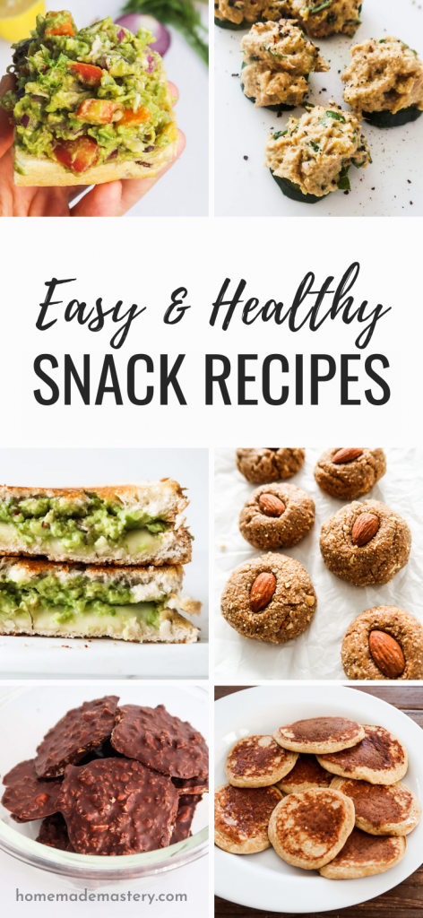 Looking for some easy healthy snacks recipes? With this roundup you can choose between sweet and savory easy snack ideas that will satisfy your cravings and that you can easily meal prep (for the most part).