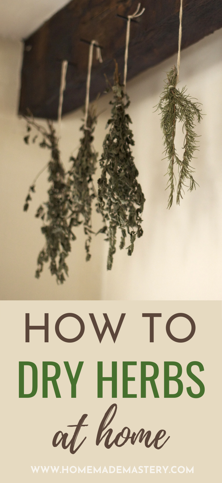 How to dry herbs at home! In this tutorial you'll learn how to dry herbs in the oven and with air drying at home! If you've been growing some herbs in your herb garden for cooking or medicinal purposes (they have amazing healing properties) you need to learn how to preserve them. Learn how to preserve herbs like basil, mint, rosemary, dill and thyme by drying herbs at home the right way.