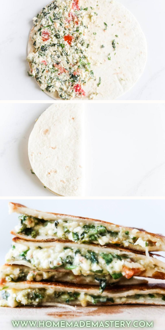 Mediterranean quesadilla with feta cheese! This is a quick and easy quesadilla recipe that you need to try if you're looking for some quick and easy dinner ideas that you can make in around 10 minutes. It's also healthy (ish), just use healthier tortillas.
