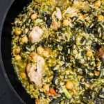 One-pan easy chicken and rice recipe with spinach and chickpeas! This is a healthy chicken recipe that is perfect for dinner and super simple to make. This delicious healthy easy dinner is great for the whole family and it's gluten-free and dairy-free too!