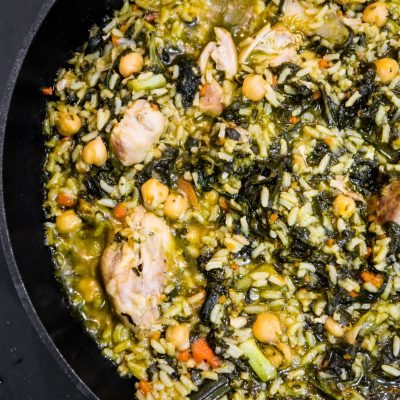 One-Pan Healthy Chicken and Rice recipe with spinach