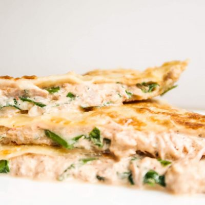 10-Minute Tuna Melt Quesadilla With Sriracha Sauce