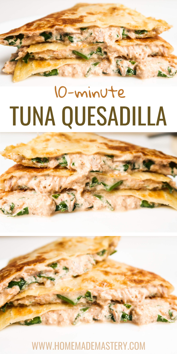 10-Minute Tuna Melt Quesadilla Recipe With Sriracha Sauce! This is a quick and easy quesadilla recipe for dinner or lunch made with a few basic ingredients most of us have at home! Spicy, easy and delicious!