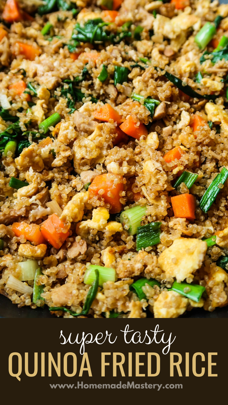 Super tasty 15-minute quinoa fried rice! This is a healthy chicken fried rice recipe made with quinoa, not rice. It's an easy healthy dinner recipe that is gluten-free, full of vegetables and delicious! Great easy dinner for the family!