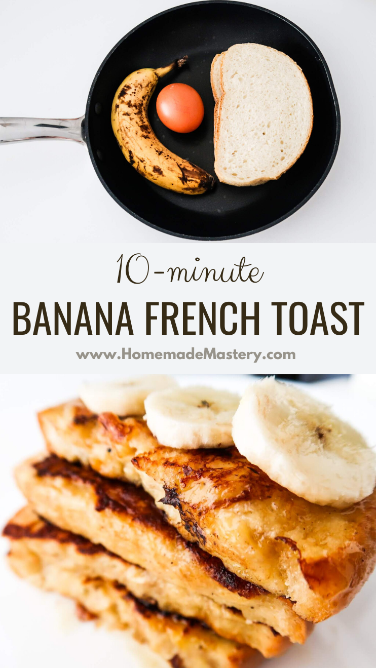 10-minute Banana French Toast recipe! This easy French toast recipe is kinda different and very tasty! You get to eat a delicious quick breakfast and to use up an old banana! This recipe doesn't make a lot, so if you're feeding more than 1-2 people, double it!
