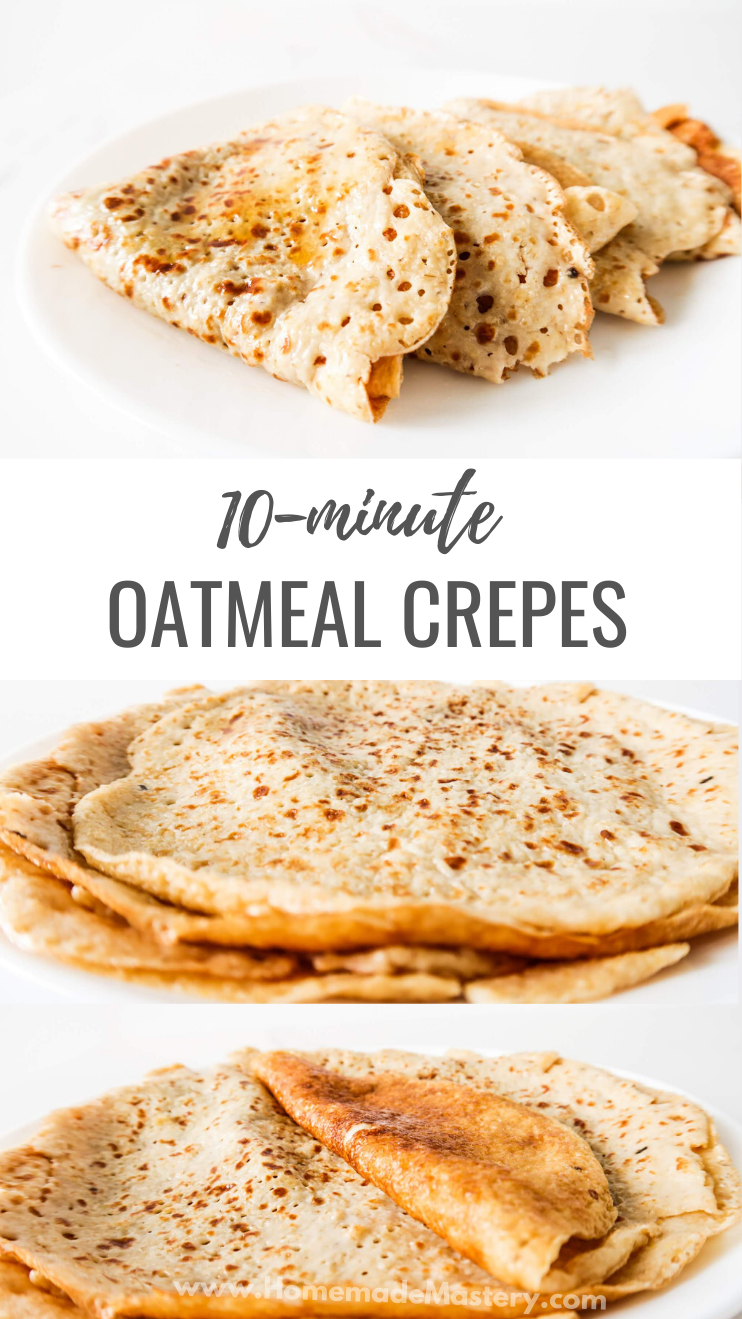 Sweet healthy oatmeal crepes! These healthy pancakes are easy and delicious - the perfect healthy breakfast recipe to start your day with. | Healthy Oatmeal Pancakes by Homemade Mastery