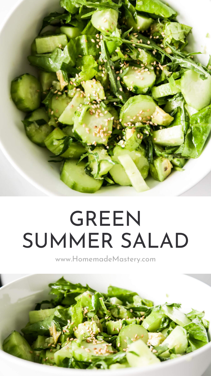 Avocado, cucumber and arugula salad - this green salad is perfect for summer, a great easy healthy side dish that is low carb, vegan, gluten-free, dairy-free and paleo. Delicious and goes with pretty much everything - great as a base for a bowl or in wraps too!