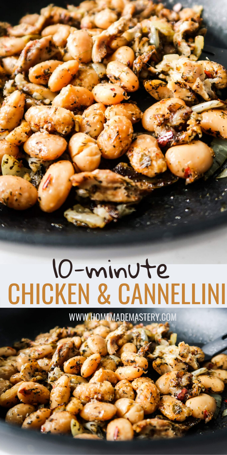 10-minute cannelloni and chicken - the easiest healthy dinner recipe ever! This is a flavorful and delicious meal you can make when you're very hungry and need something quick & tasty! This dairy-free gluten-free dinner recipe is easy to make, needs only a pan and is the perfect way to use your leftovers! Can also be a great meal prep and clean eating recipe!
