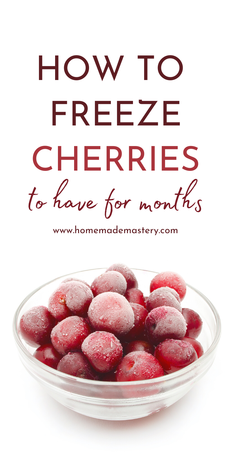 How To Freeze Cherries to have for months! A fun and useful cooking DIY project to help you preserve your produce longer. Use these cherries to make healthy ice cream, black forest cake or in cherry smoothies.
