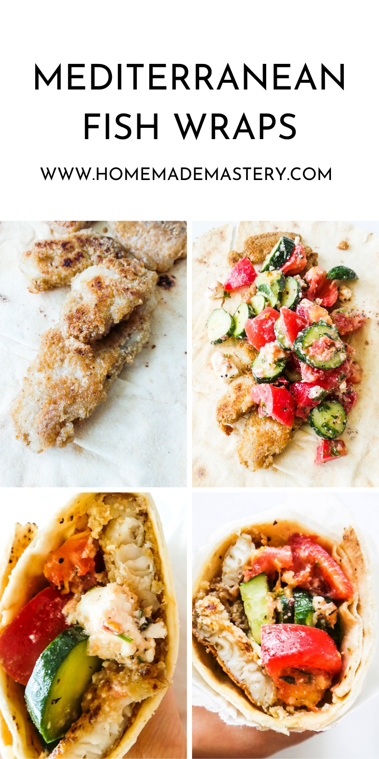 Mediterranean Fish Wraps - easy and healthy dinner recipe that is ready in 30 minutes! Use the type of fish you like to make these delicious healthy fish wraps!