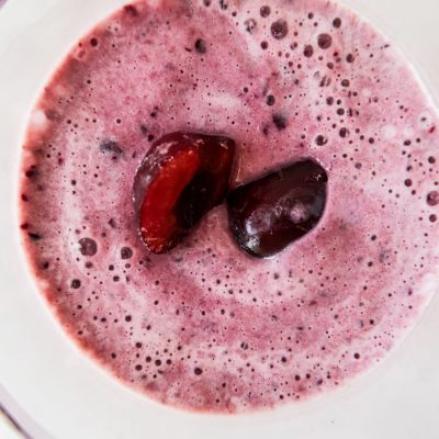 Healthy cherry smoothie that tastes like ice cream! This cherry ice cream smoothie is made with 3 ingredients and is the perfect refreshing snack!