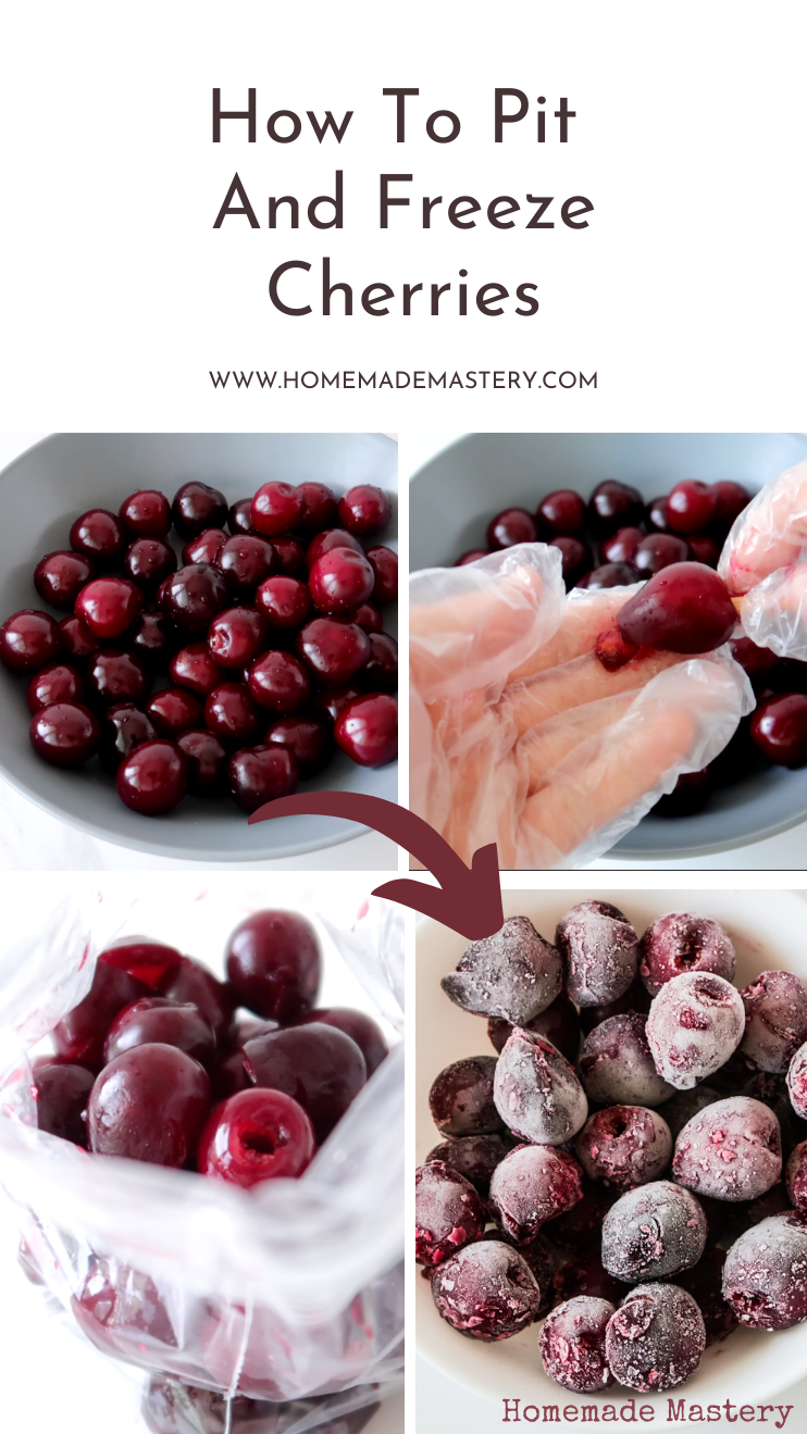 How to pit cherries and how to freeze cherries to have for months! A fun and useful cooking DIY project to help you preserve your produce longer. Use these cherries to make healthy ice cream, black forest cake or in cherry smoothies.
