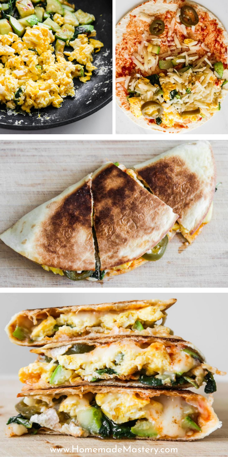 Looking for some new easy and healthy breakfast ideas? You'll love this healthy breakfast quesadilla recipe...Filled with eggs, cheese and vegetables this vegetarian savory breakfast recipe is filling, delicious and pretty quick to make.