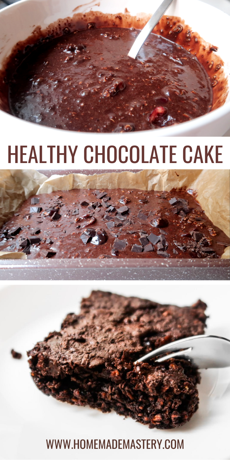 super easy healthy chocolate cake recipe. If you're looking for some new healthy breakfast ideas, put this gluten free chocolate cake on your list. This healthy breakfast chocolate cake is made without flour, it's gluten free, dairy free, nut free, rich in fiber and super delicious!  Perfect easy and healthy make ahead breakfast idea!