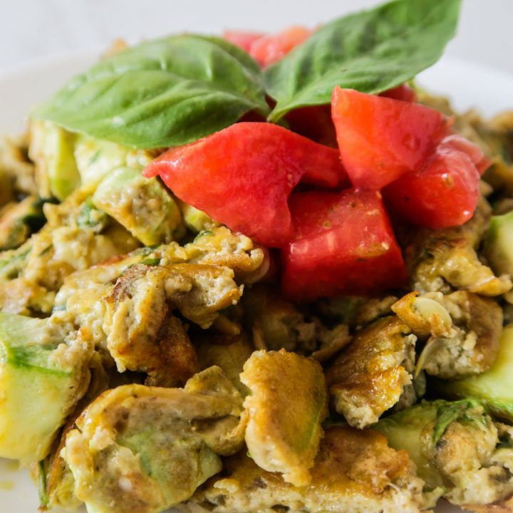 This 10-minute healthy pesto eggs recipe is a super quick and easy breakfast idea that is low carb, gluten free, healthy and satisfying. I'm pretty sure you'll love this simple egg recipe any time of the day!