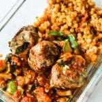 This healthy turkey meatballs bowls recipe is delicious to meal prep with a tomato garlic sauce and couscous on the side.