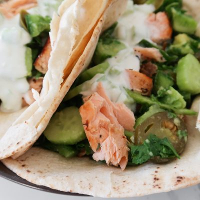 30-Minute Mediterranean Salmon Wraps Recipe