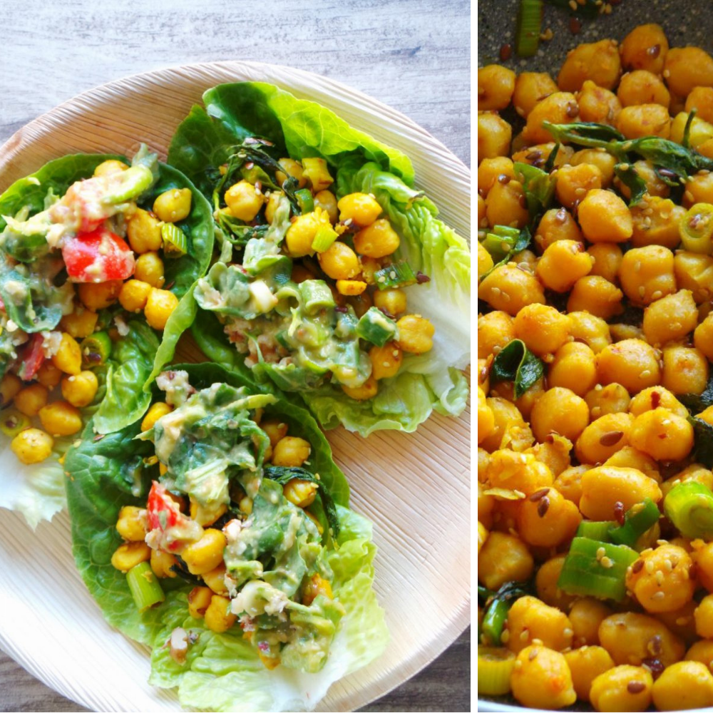 Easy chickpea lettuce wraps!