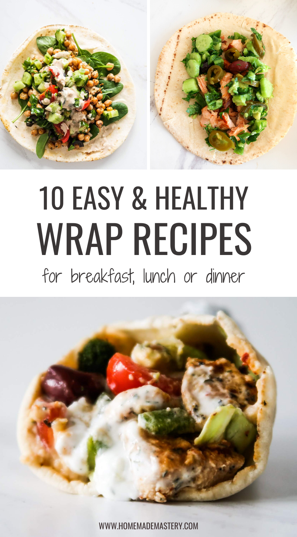 10 easy and healthy wrap recipes that you'll want to eat for breakfast, lunch or dinner! This collection includes a delicious breakfast burrito, Mediterranean wraps, vegan and vegetarian wraps, chicken and fish wraps, lettuce wraps and more!
