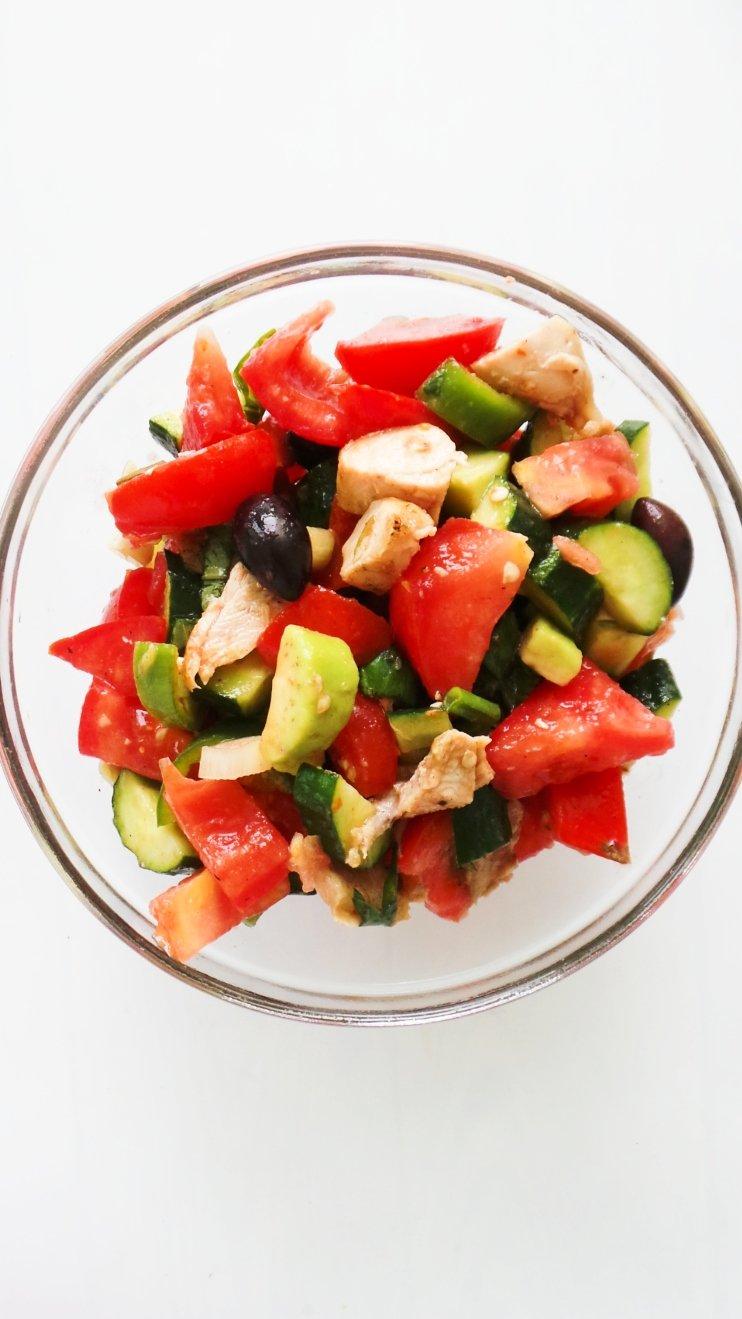 tomato, cucumber chicken salad - easy chicken salad recipes